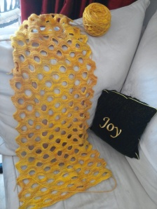 Swiss Cheese Scarf almost done